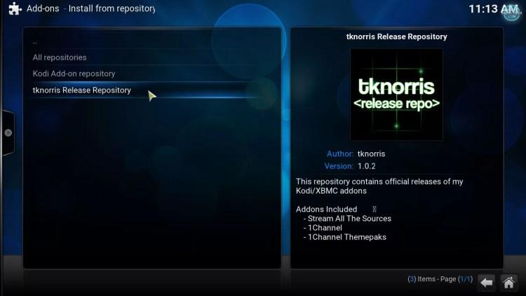 tknorris repository on Kodi salts