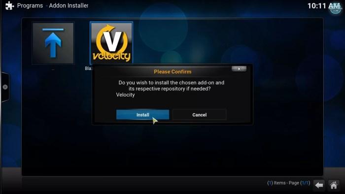 installing Velocity addon Kodi