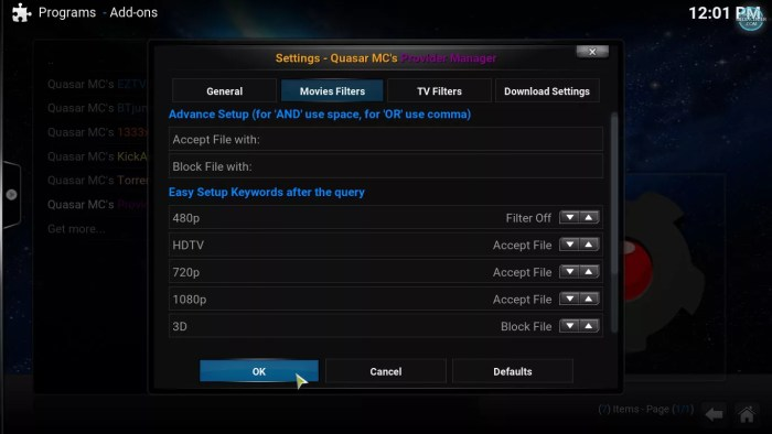 Quasar MC's Provider Manager Settings
