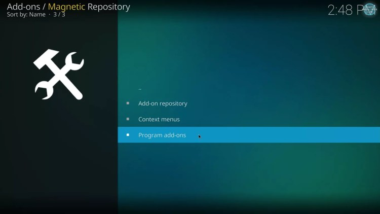 program addons on magnetic repo for kodi with estuary
