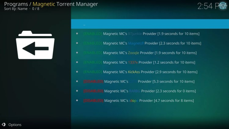 selecting fastest providers for Magnetic on Kodi