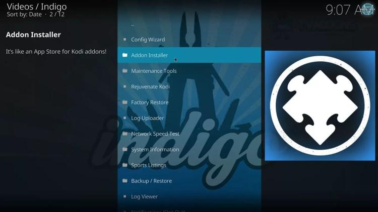 Indigo Addon Installer on kodi 17 krypton with estuary