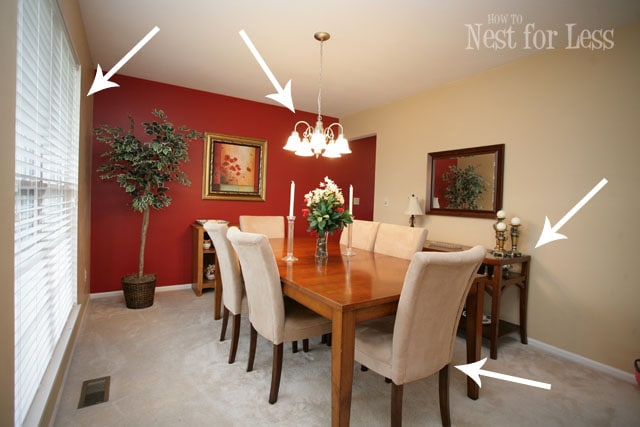 Red Accent Dining Room Walls