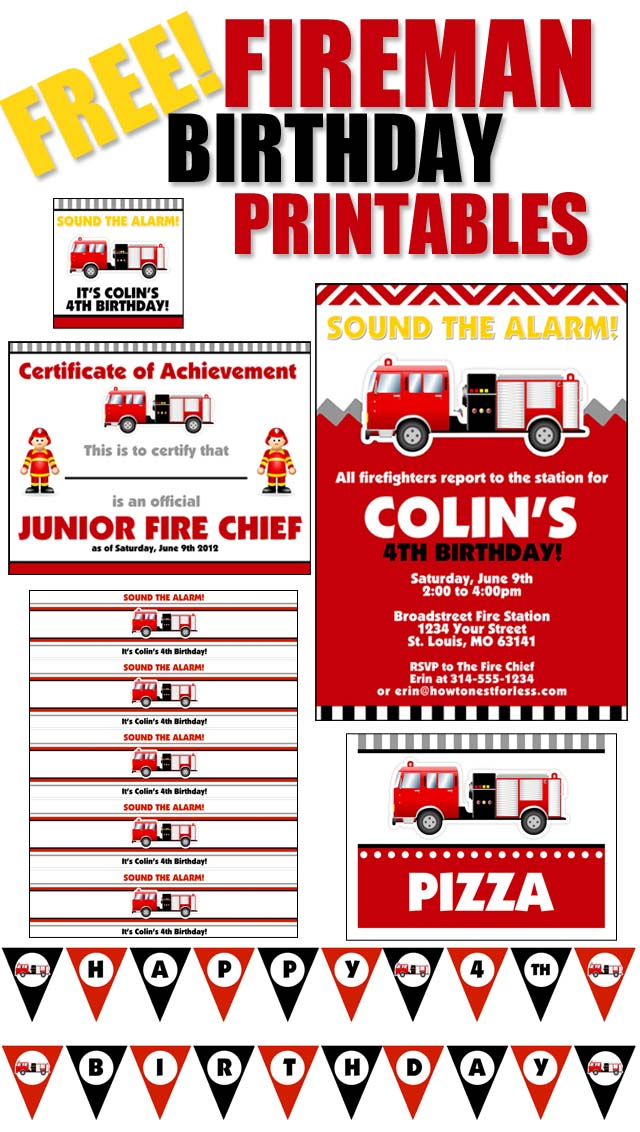 Instantly download this fire truck party invitations template. Fire Truck Birthday Party With Free Printables How To Nest For Less