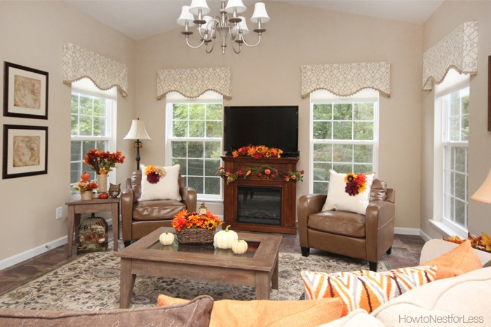 Fall Decorating on a Budget   How to Nest for Less       fall home decorations family room