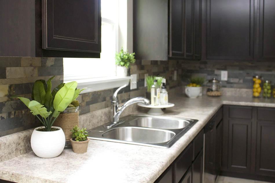 Faux Stone Kitchen Backsplash - How to Nest for Less™ on Backsplash Ideas For Dark Cabinets  id=37638