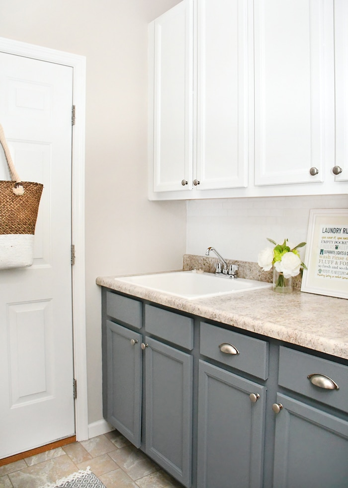 Budget Laundry Room Makeover with DIY Shiplap and Stained ... on Laundry Cabinets  id=54613