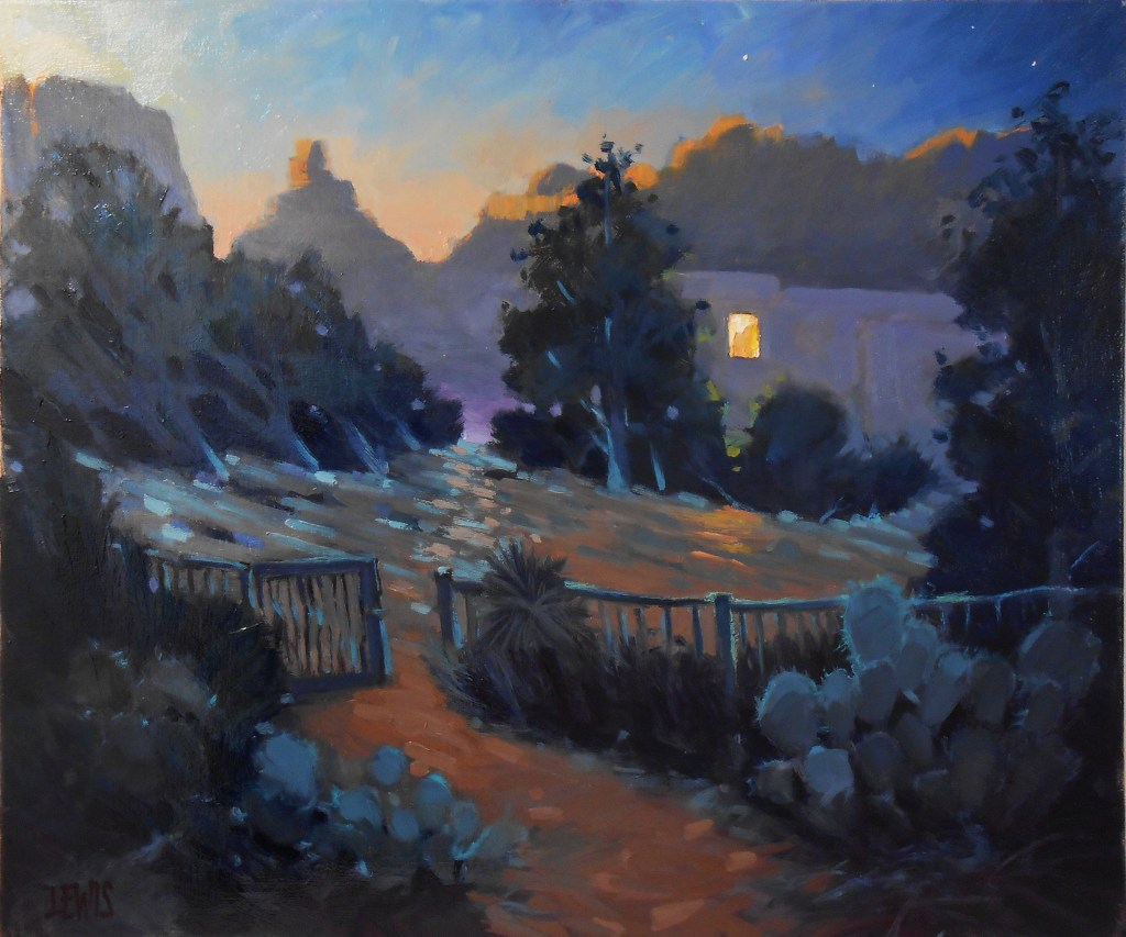 """A plein air painting done over multiple days called """"Early Morning Coffee""""."""
