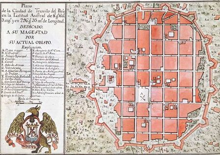 Historic map of Trujillo Peru