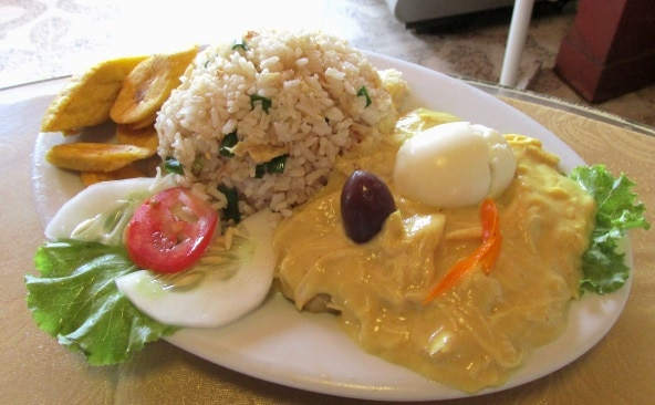 Aji de gallina at Restaurant Paulina Iquitos