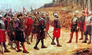 Francisco Pizarro with conquistadors