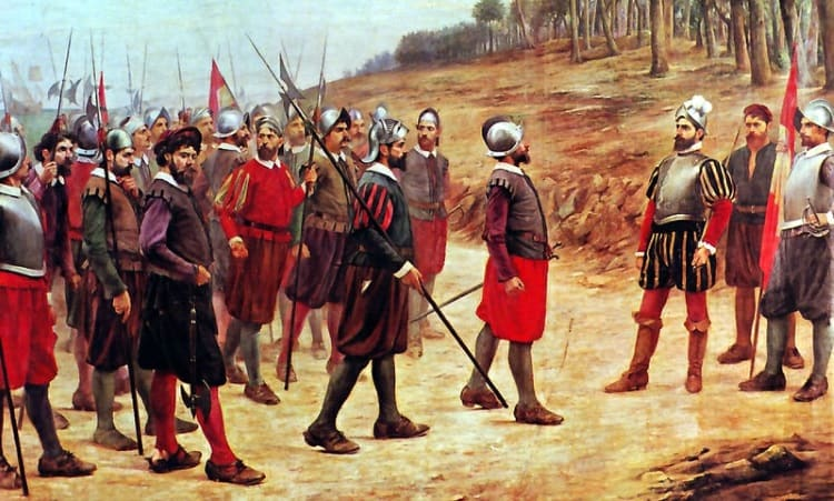 Francisco Pizarro with conquistadors