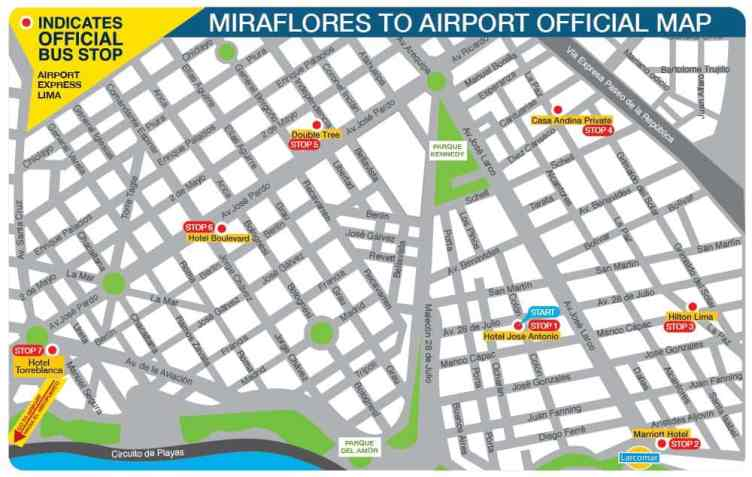 Map of Miraflores Airport Express Lima