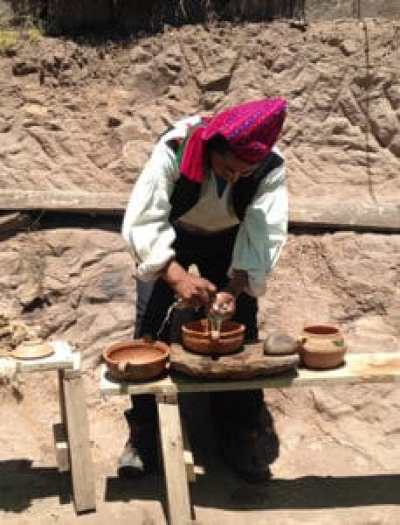 local man making natural soap and textiles from plant