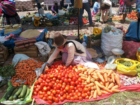 peruvian fruit and vegetables - lady at food market with vegetables laid out on a blanket