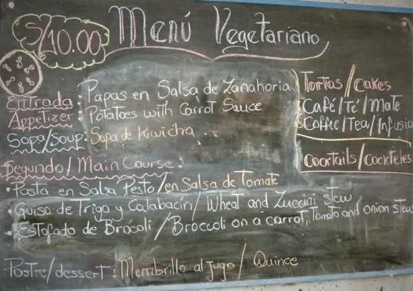 Menu del Dia in Lima Peru