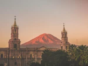 Arequipa Volcano With Church