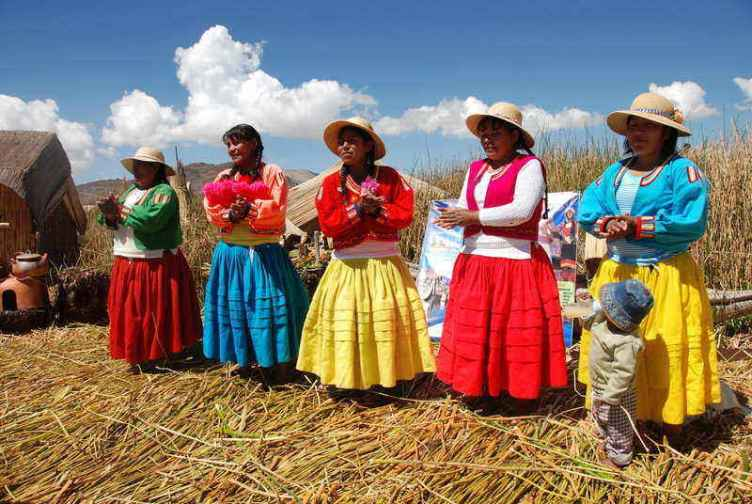 Uros Islands Lake Titicaca tours Puno Peru Bolivia Border Local inhabitants