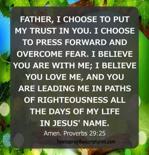 Trust in God Prayer - Proverbs 29:25