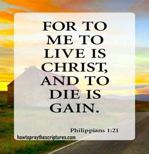 For to me to live is Christ and to die is gain