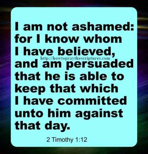 I Am Not Ashamed 2 Timothy 1-12