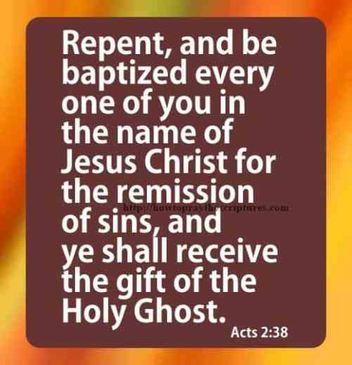 Repent And Be Baptized Acts 2-38