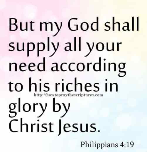 But My God Shall Supply Philippians 4-19