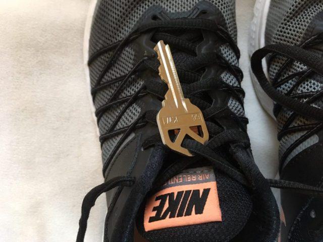 Running Hacks- Tie Key in Shoelaces