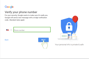 New Gmail Sign Up mobile verify