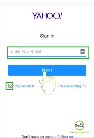 Yahoo login homepage