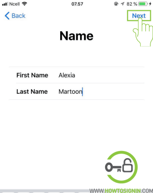 enter first and last name for apple id sign up