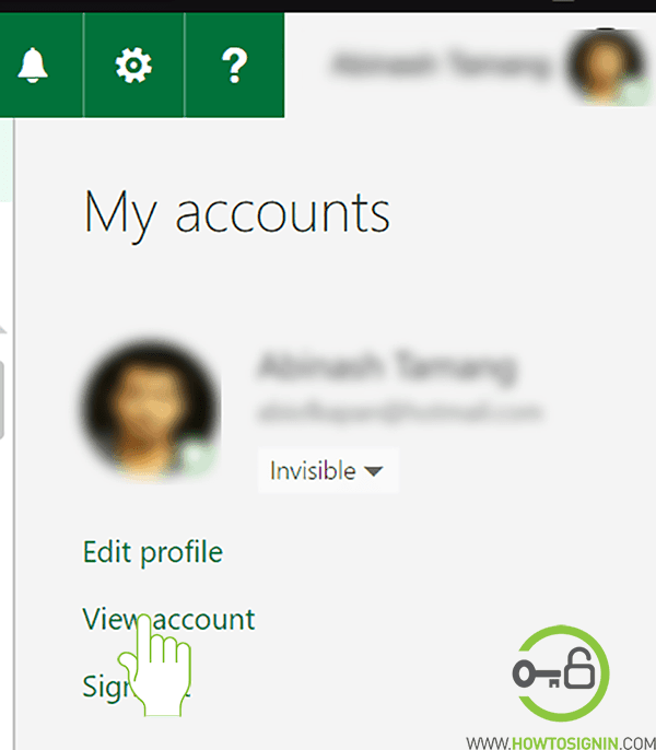 hotmail view account