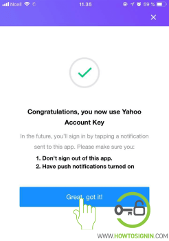 yahoo account key mobile activated