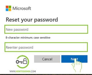 New Password microsoft account password reset