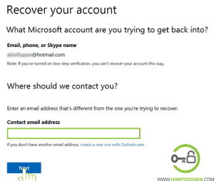 enter recovery email to recover your hotmail account