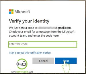 verify identity microsoft password reset