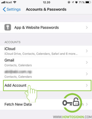 add account in iphone setting