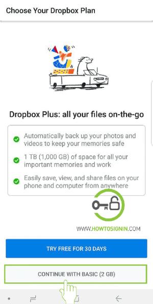 dropbox plan mobile sign up