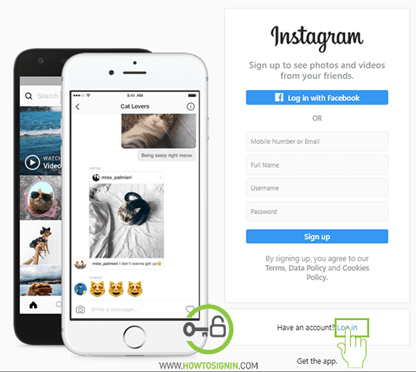 Instagram login from web