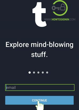 enter email address for tumblr login form mobile