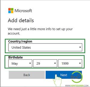 seleccionar región cuenta de hotmail