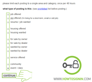 Type of posting on Craiglist