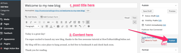 Write a new blog post