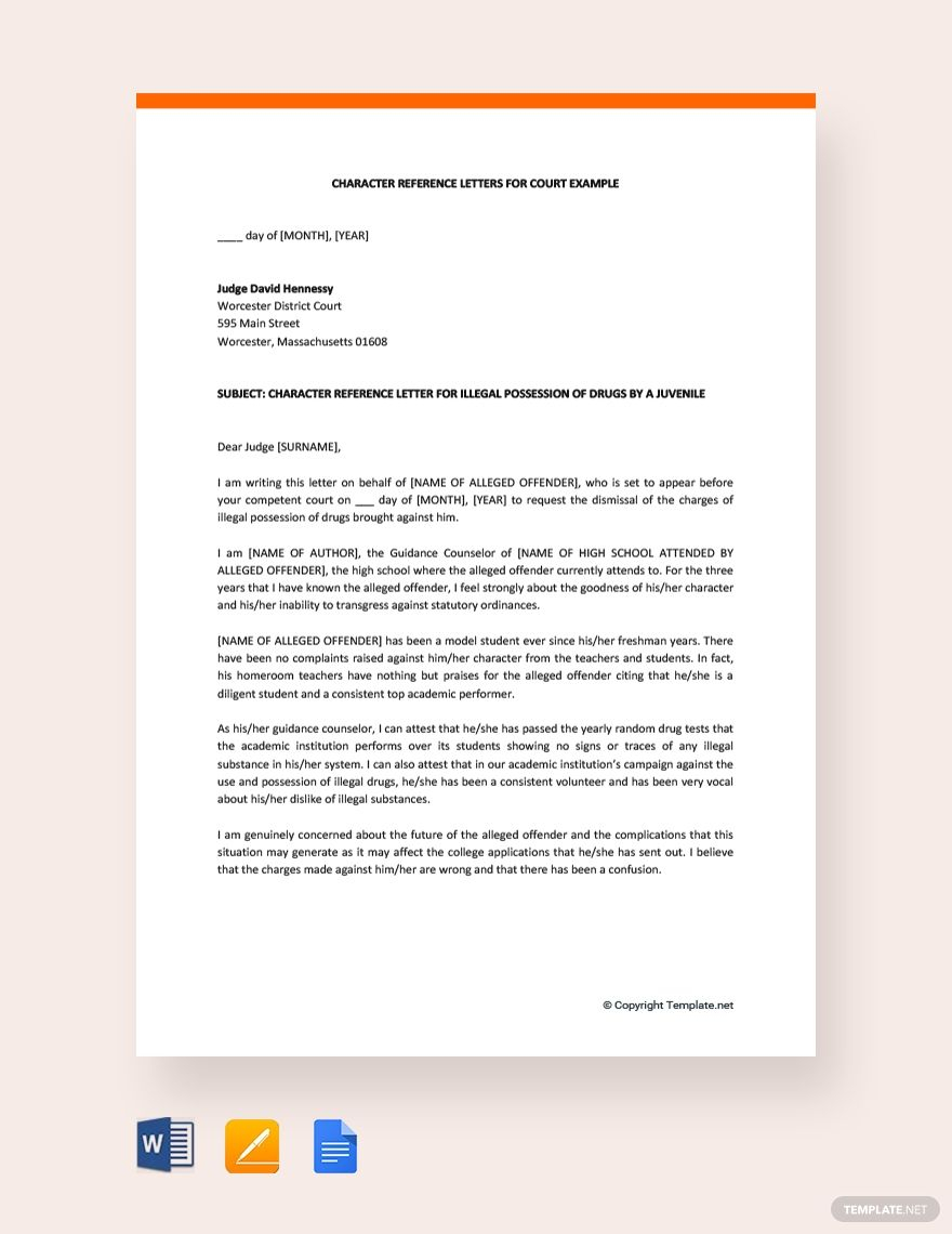 Free Printable Recommendation Letter To A Judge Before Sentencing
