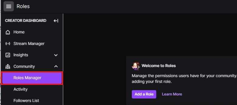 Roles Manager on Twitch