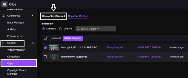 How to delete followers clips on Twitch