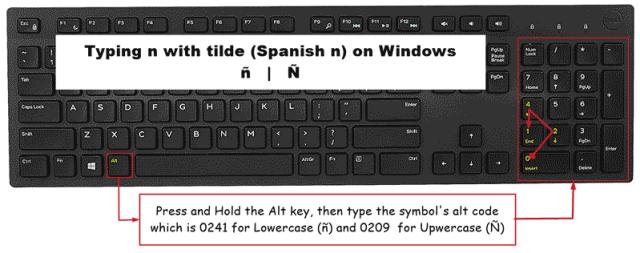 Spanish n with tilde shortcut on Windows keyboard