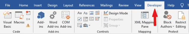 Microsoft Word Developer tab