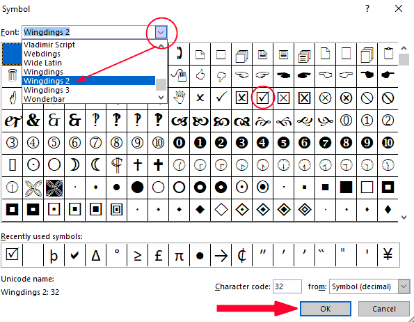 Locate the tick symbol from the symbol's dialog