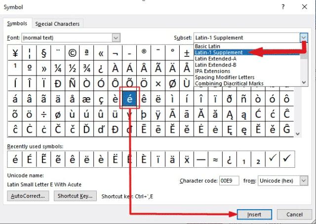 insert e acute symbol in Word